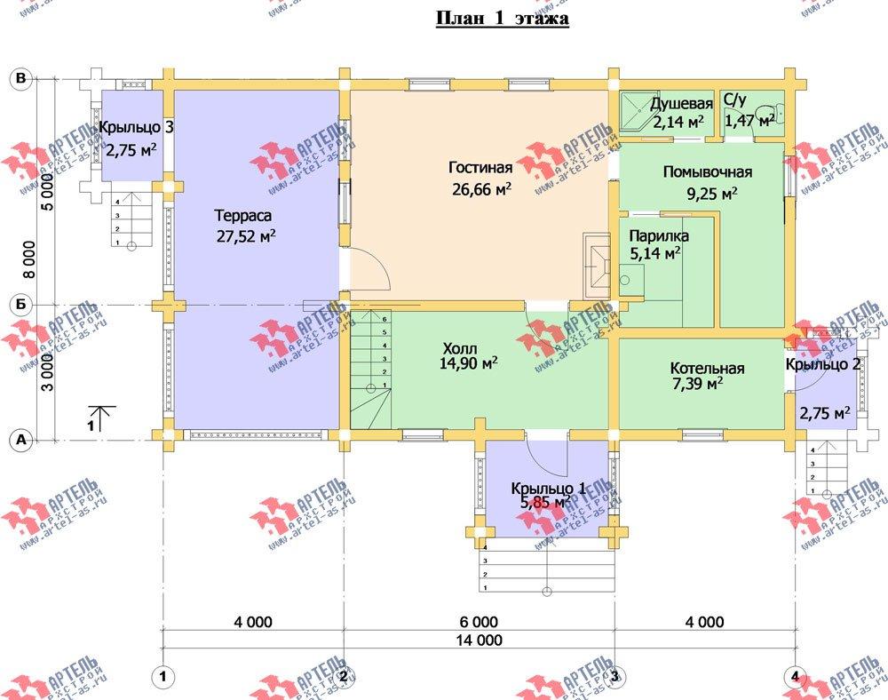 двухэтажный дом из бруса площадью свыше 200 кв. м. с  балконом, террасой, проект Вариант 3 фотография 3051