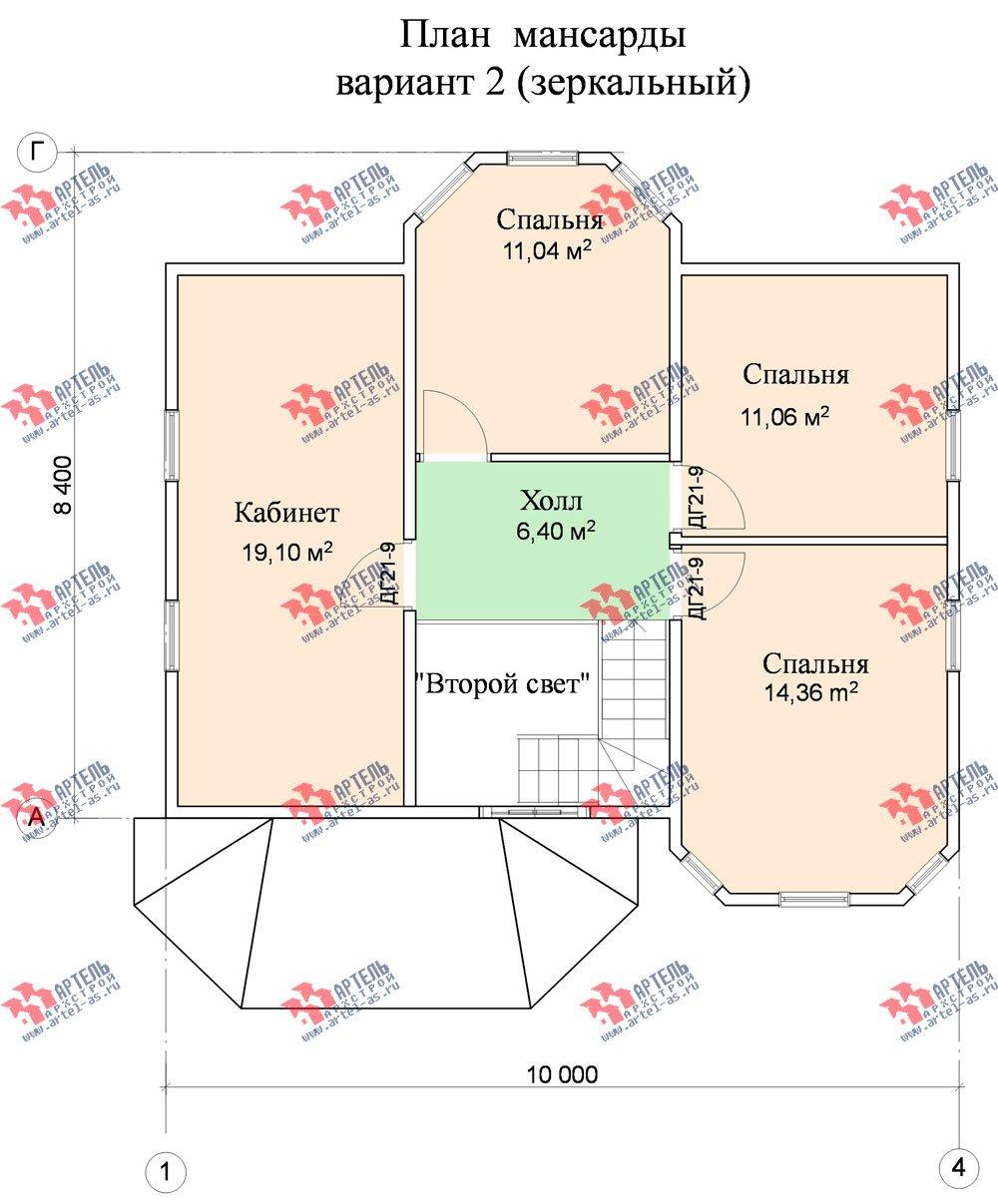 двухэтажный дом из бруса площадью от 100 до 150 кв. м. с  мансардой, террасой, эркером, проект Вариант 8.4 А фотография 963