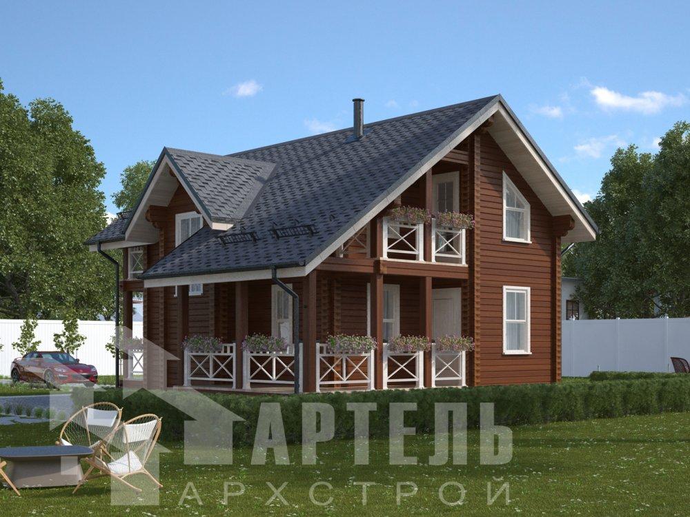 двухэтажный дом омбинированные дома площадью от 100 до 150 кв. м., проект Вариант 9,9К Камень и Комбинированный фотография 6506
