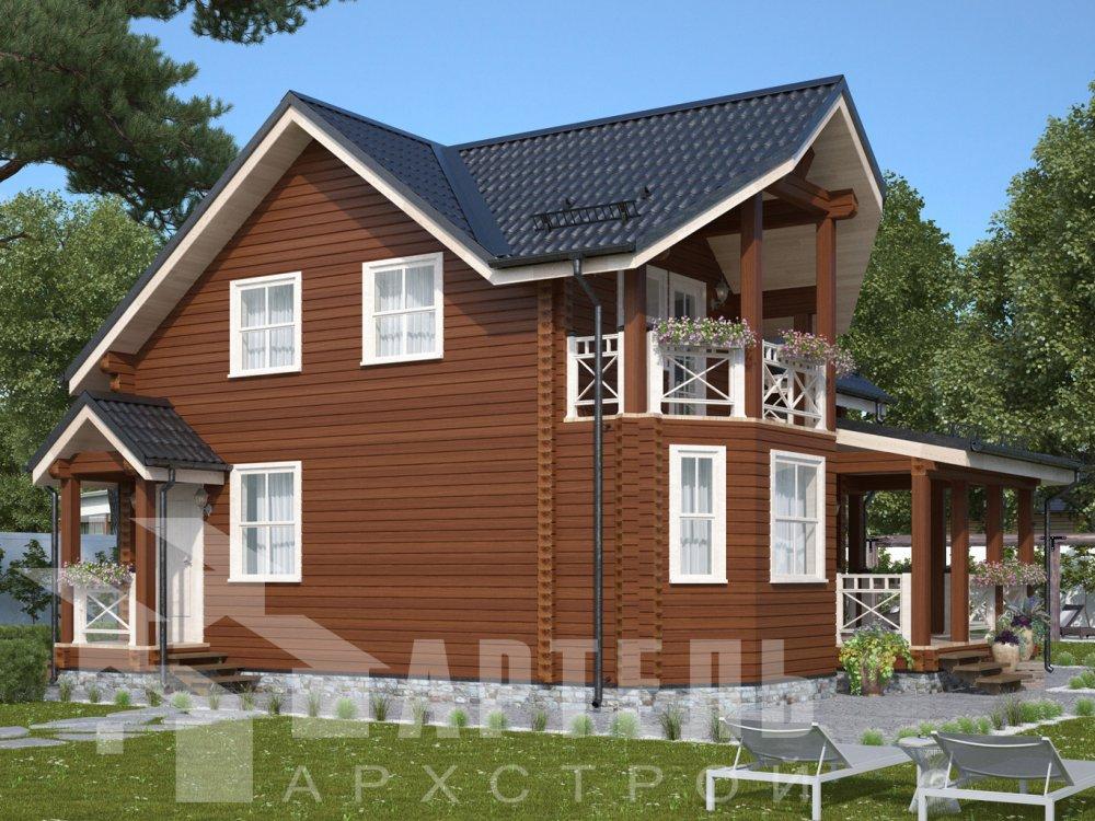 двухэтажный дом из профилированного бруса площадью от 100 до 150 кв. м. с  балконом, террасой, проект Вариант 10.7Л фотография 6557