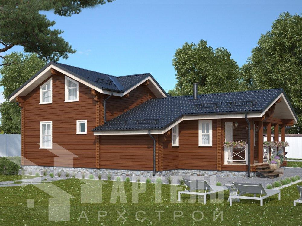 двухэтажный дом из профилированного бруса площадью от 100 до 150 кв. м., проект Вариант 13.3 А фотография 6581