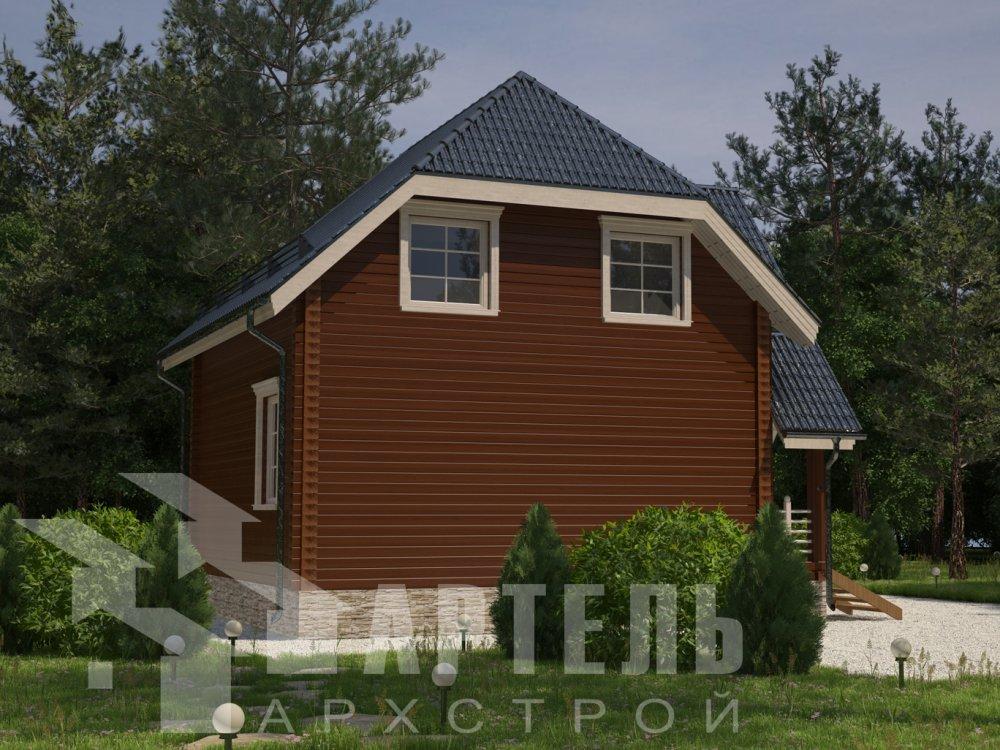 двухэтажный дом из профилированного бруса площадью до 100 кв. м. с  мансардой, эркером, проект Вариант 7 Г фотография 6605