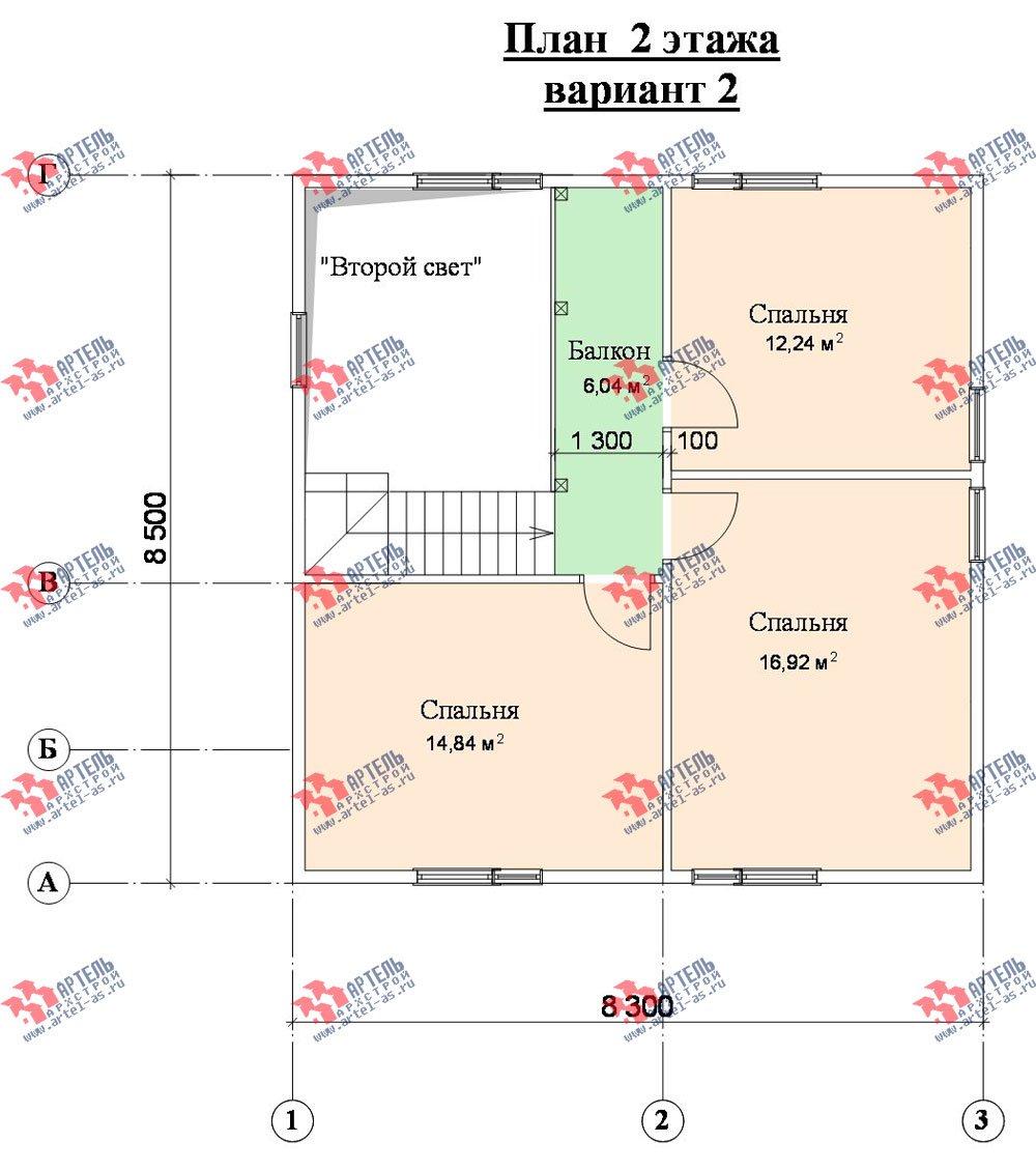 двухэтажный дом из профилированного бруса площадью от 100 до 150 кв. м. с  мансардой, террасой, проект Вариант 8.5 В фотография 986