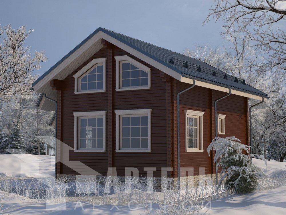 двухэтажный дом из профилированного бруса площадью от 100 до 150 кв. м. с  верандой, мансардой, эркером, проект Вариант 6 Л фотография 6622