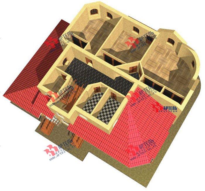 двухэтажный дом из камня площадью свыше 200 кв. м. с  балконом, гаражом, эркером, проект Вариант 6 фотография 504