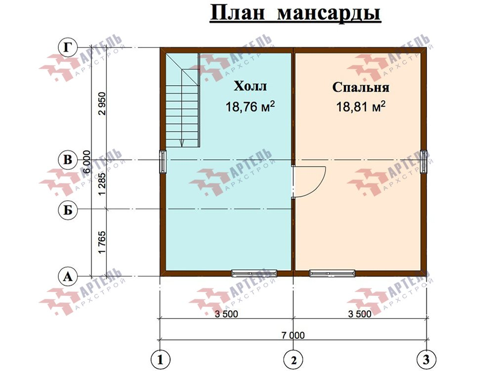 двухэтажный дом из профилированного бруса площадью до 100 кв. м. с  мансардой, проект Вариант 6 Д фотография 5790