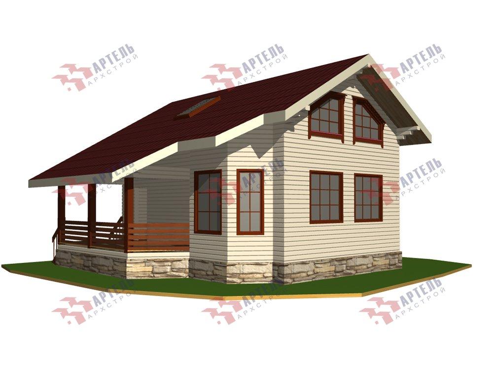 двухэтажный дом из профилированного бруса площадью от 100 до 150 кв. м. с  верандой, мансардой, эркером, проект Вариант 6 Л фотография 5889