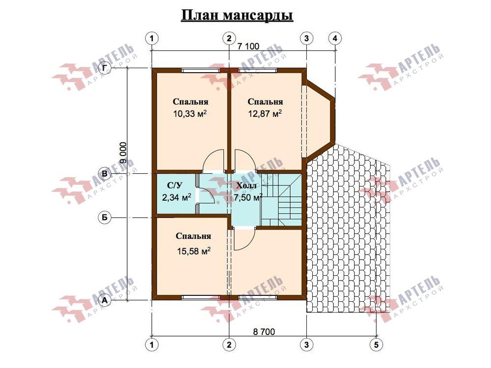 двухэтажный дом из профилированного бруса площадью от 100 до 150 кв. м. с  верандой, мансардой, эркером, проект Вариант 6 Л фотография 5896