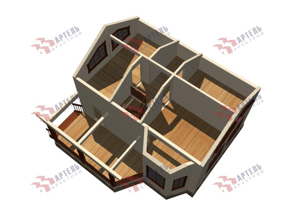 двухэтажный дом из профилированного бруса площадью от 100 до 150 кв. м. с  верандой, мансардой, эркером, проект Вариант 6 Л фотография 5898