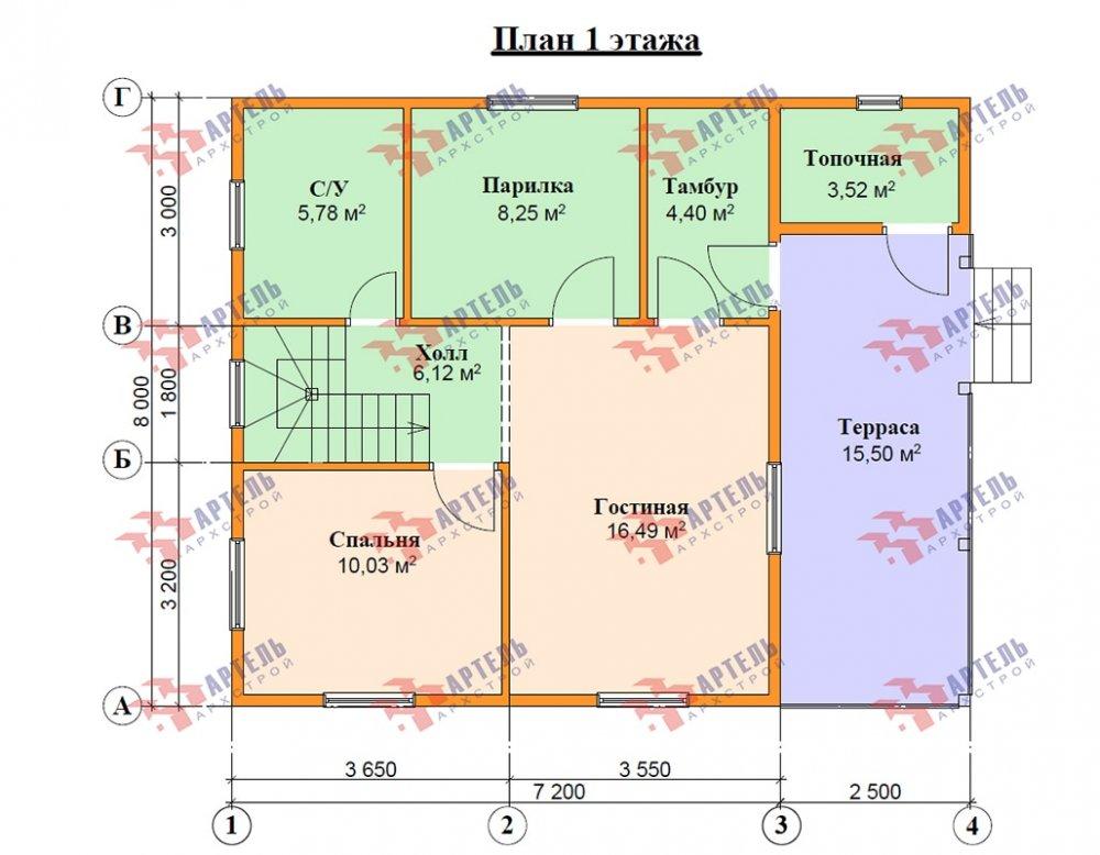 двухэтажный дом из профилированного бруса площадью от 100 до 150 кв. м. с  террасой, проект Вариант 7.2 А фотография 4881