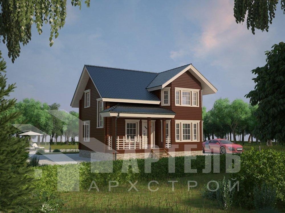двухэтажный дом из профилированного бруса площадью от 100 до 150 кв. м. с  мансардой, эркером, проект Вариант 7.2 К фотография 4416