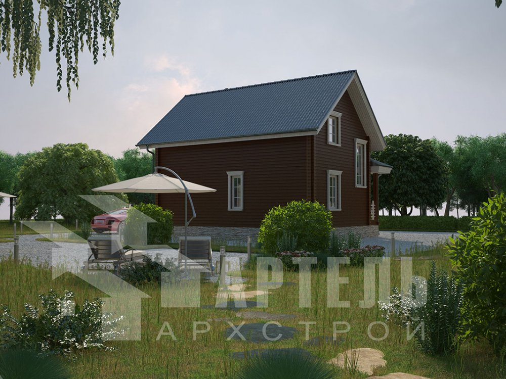 двухэтажный дом из профилированного бруса площадью от 100 до 150 кв. м. с  мансардой, эркером, проект Вариант 7.2 К фотография 4420