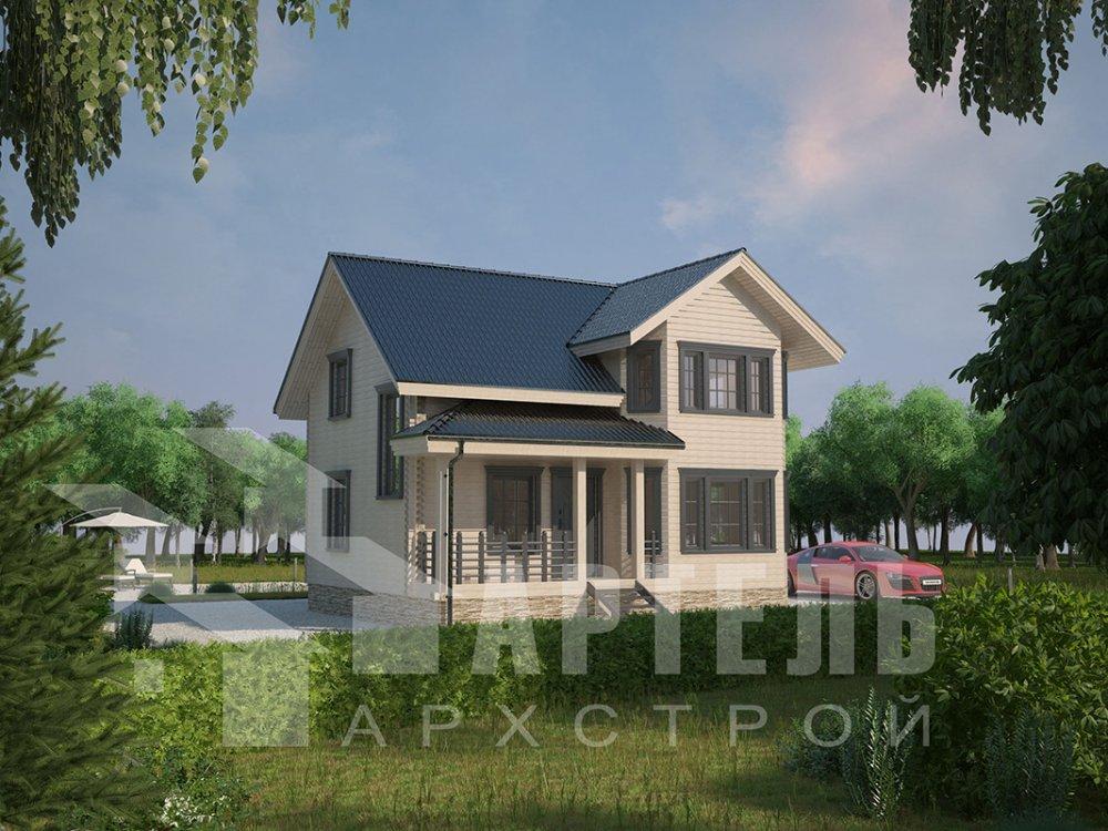двухэтажный дом из профилированного бруса площадью от 100 до 150 кв. м. с  мансардой, эркером, проект Вариант 7.2 К фотография 4422