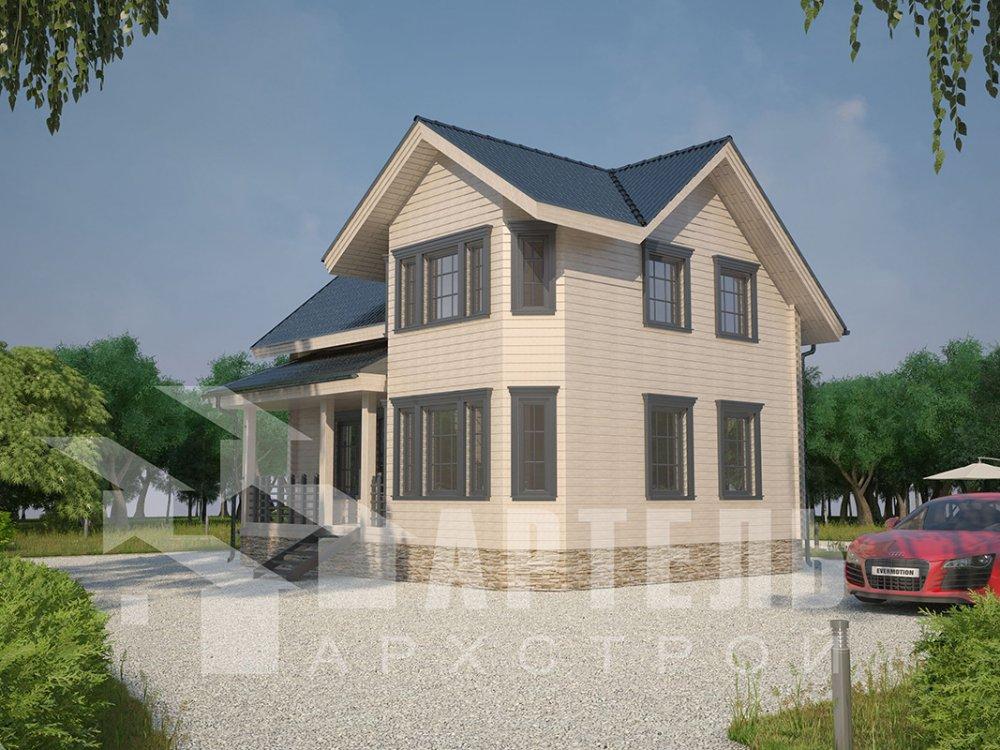 двухэтажный дом из профилированного бруса площадью от 100 до 150 кв. м. с  мансардой, эркером, проект Вариант 7.2 К фотография 4423