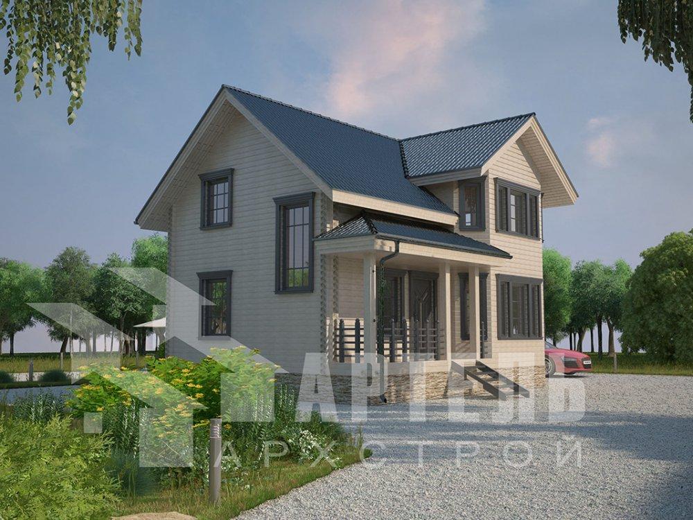 двухэтажный дом из профилированного бруса площадью от 100 до 150 кв. м. с  мансардой, эркером, проект Вариант 7.2 К фотография 4426