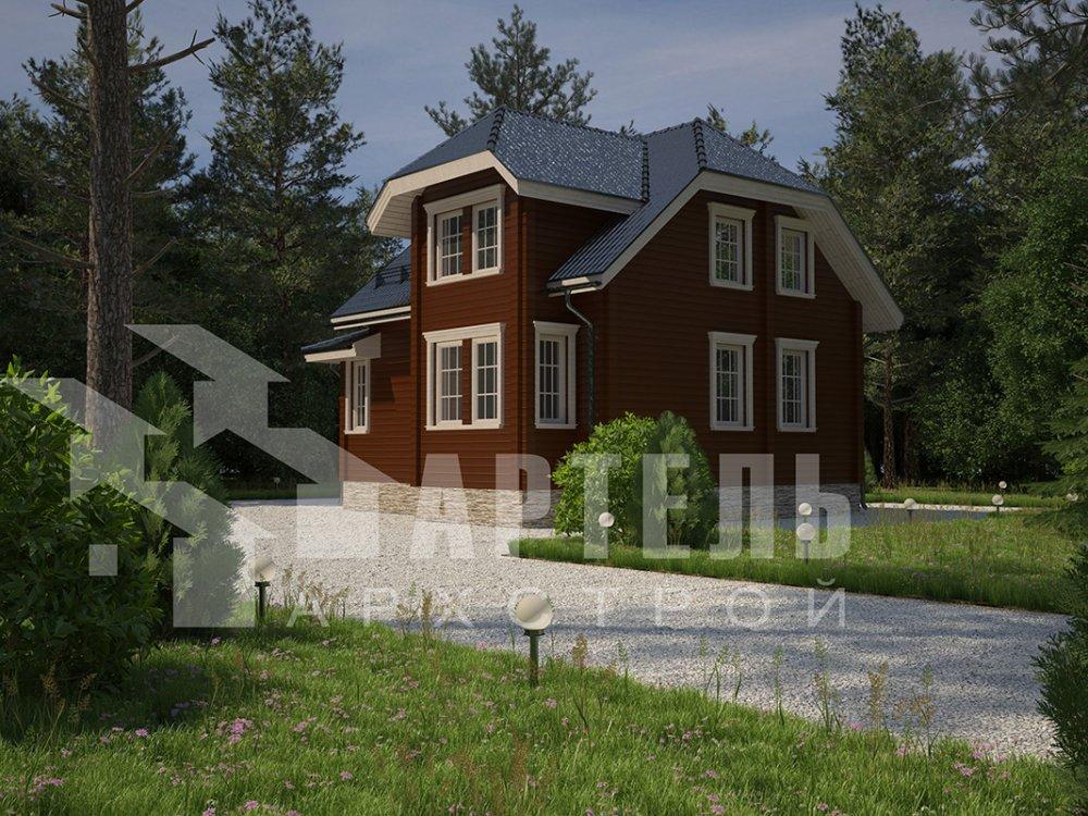 двухэтажный дом из профилированного бруса площадью от 100 до 150 кв. м. с  мансардой, эркером, проект Вариант 7.3 К фотография 4101