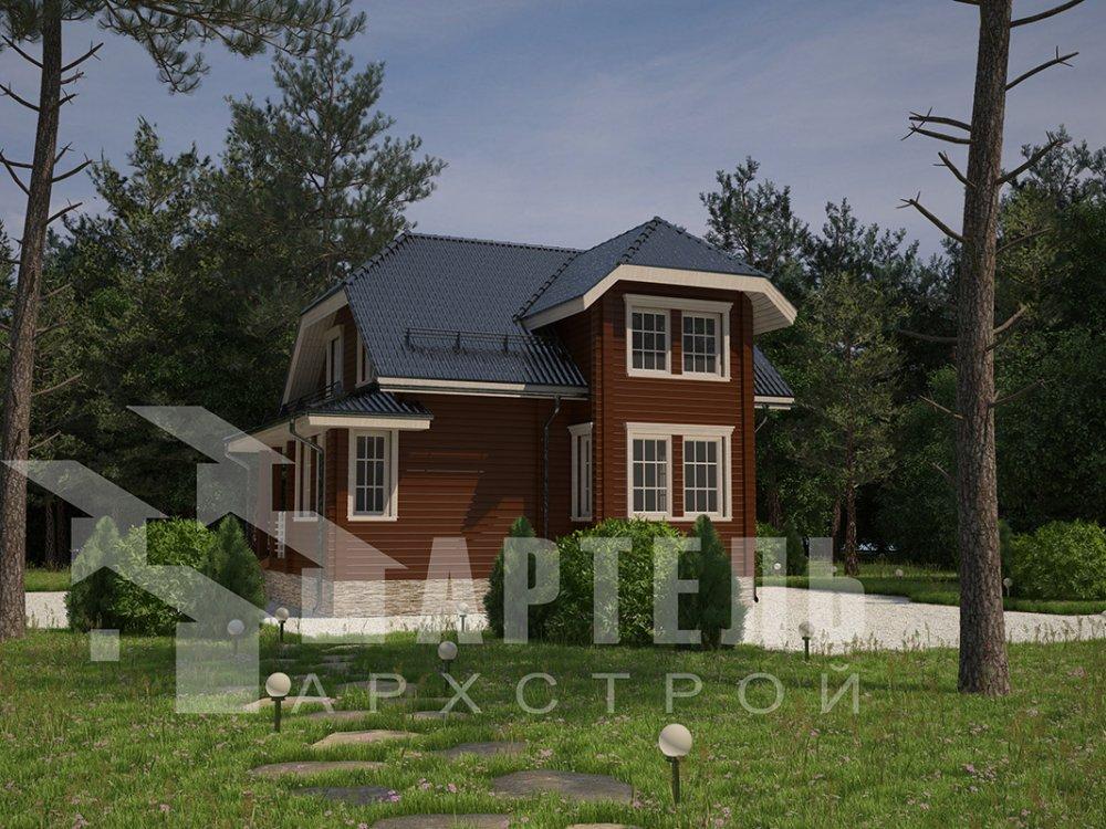 двухэтажный дом из профилированного бруса площадью от 100 до 150 кв. м. с  мансардой, эркером, проект Вариант 7.3 К фотография 4108