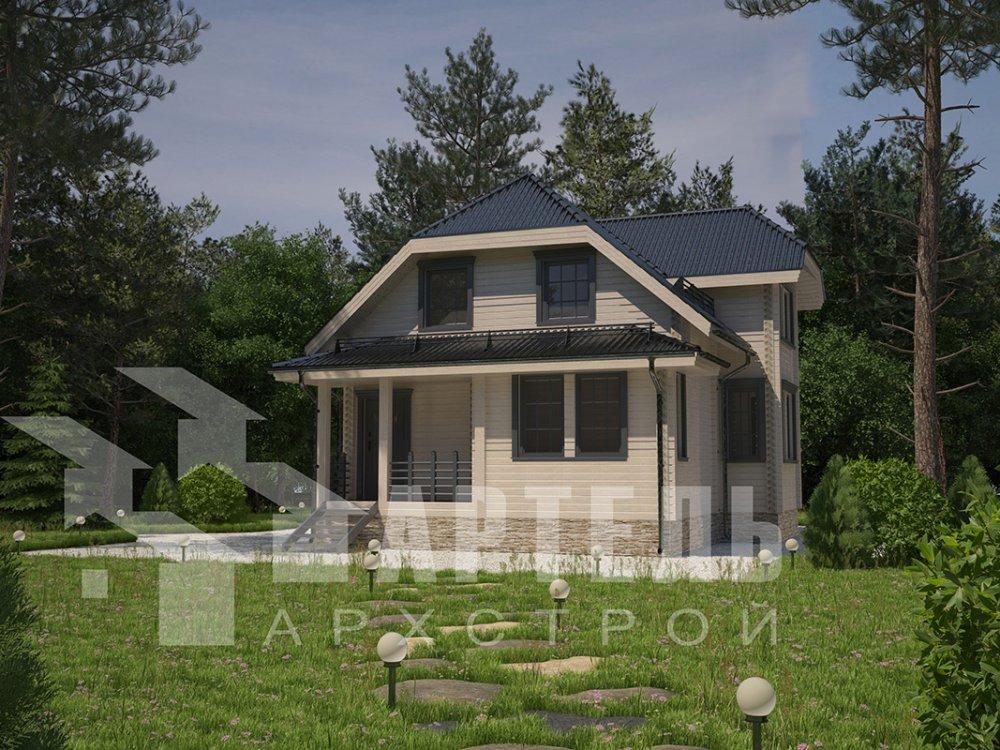 двухэтажный дом из профилированного бруса площадью от 100 до 150 кв. м. с  мансардой, эркером, проект Вариант 7.3 К фотография 4103