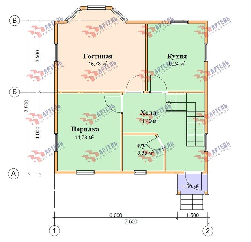 двухэтажный дом из профилированного бруса площадью от 100 до 150 кв. м. с  балконом, мансардой, эркером, проект Вариант 7.5 А фотография 4870