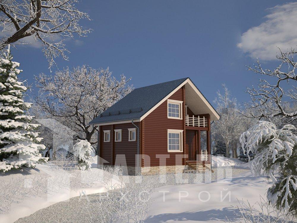 двухэтажный дом из профилированного бруса площадью до 100 кв. м. с  балконом, мансардой, проект Вариант 7.5 Д фотография 4089