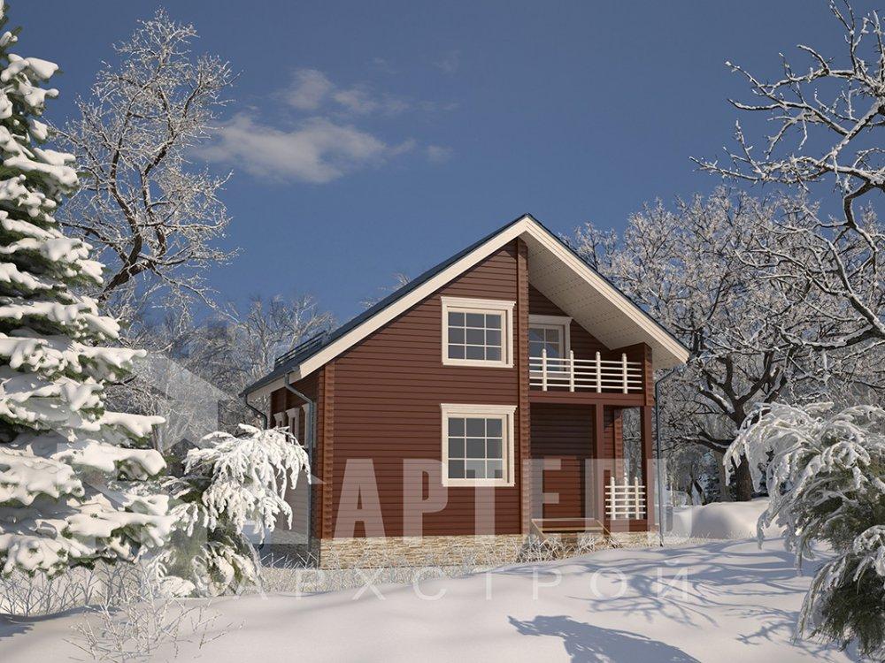 двухэтажный дом из профилированного бруса площадью до 100 кв. м. с  балконом, мансардой, проект Вариант 7.5 Д фотография 4100