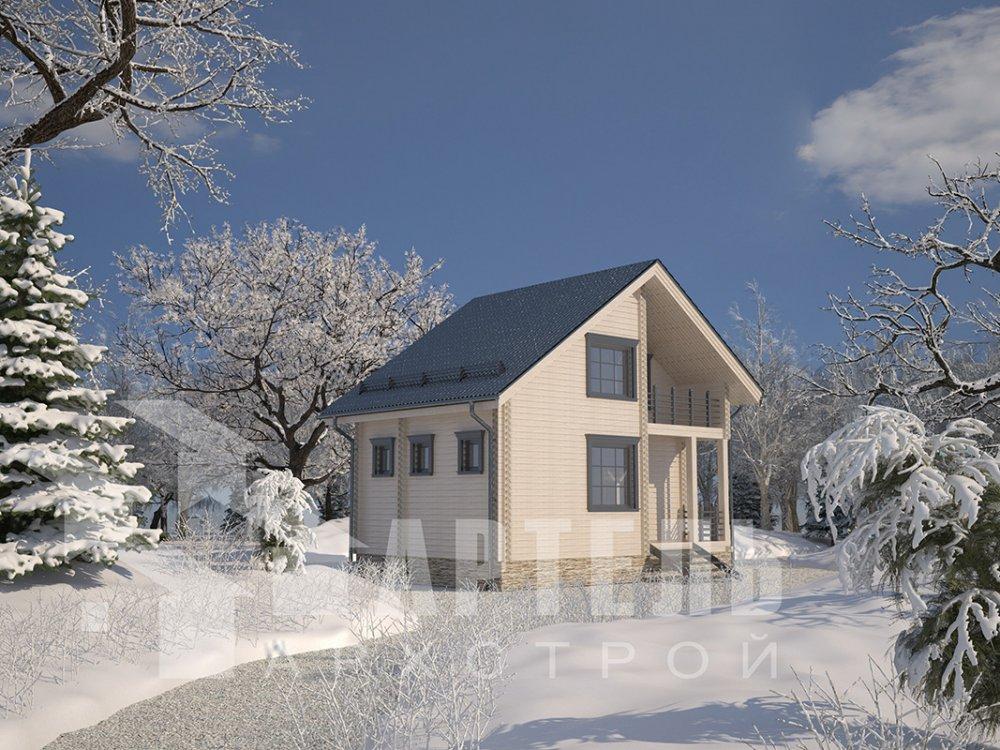 двухэтажный дом из профилированного бруса площадью до 100 кв. м. с  балконом, мансардой, проект Вариант 7.5 Д фотография 4095