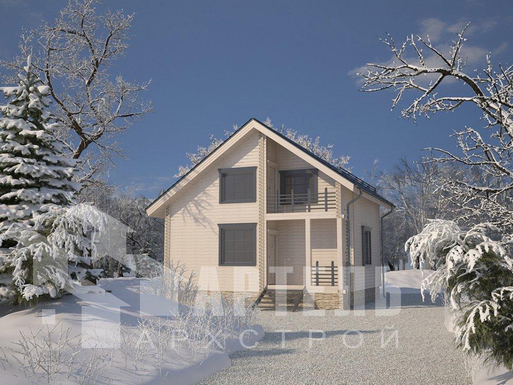 двухэтажный дом из профилированного бруса площадью до 100 кв. м. с  балконом, мансардой, проект Вариант 7.5 Д фотография 4093