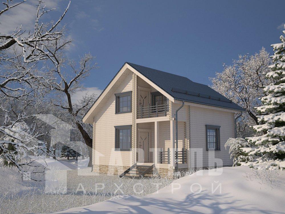 двухэтажный дом из профилированного бруса площадью до 100 кв. м. с  балконом, мансардой, проект Вариант 7.5 Д фотография 4092