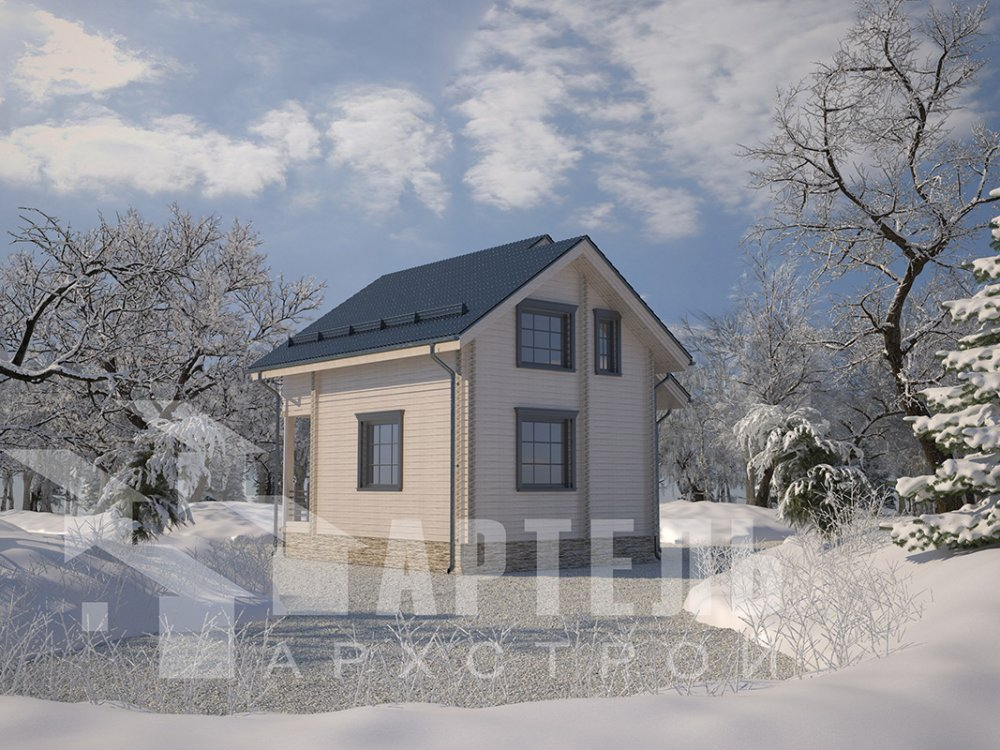 двухэтажный дом из профилированного бруса площадью до 100 кв. м. с  балконом, мансардой, проект Вариант 7.5 Д фотография 4091