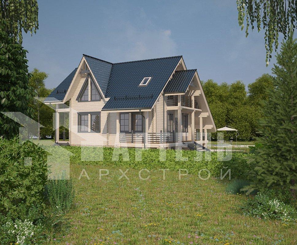двухэтажный дом из профилированного бруса площадью от 150 до 200 кв. м. с  балконом, террасой, проект Вариант 7.7 А фотография 4174