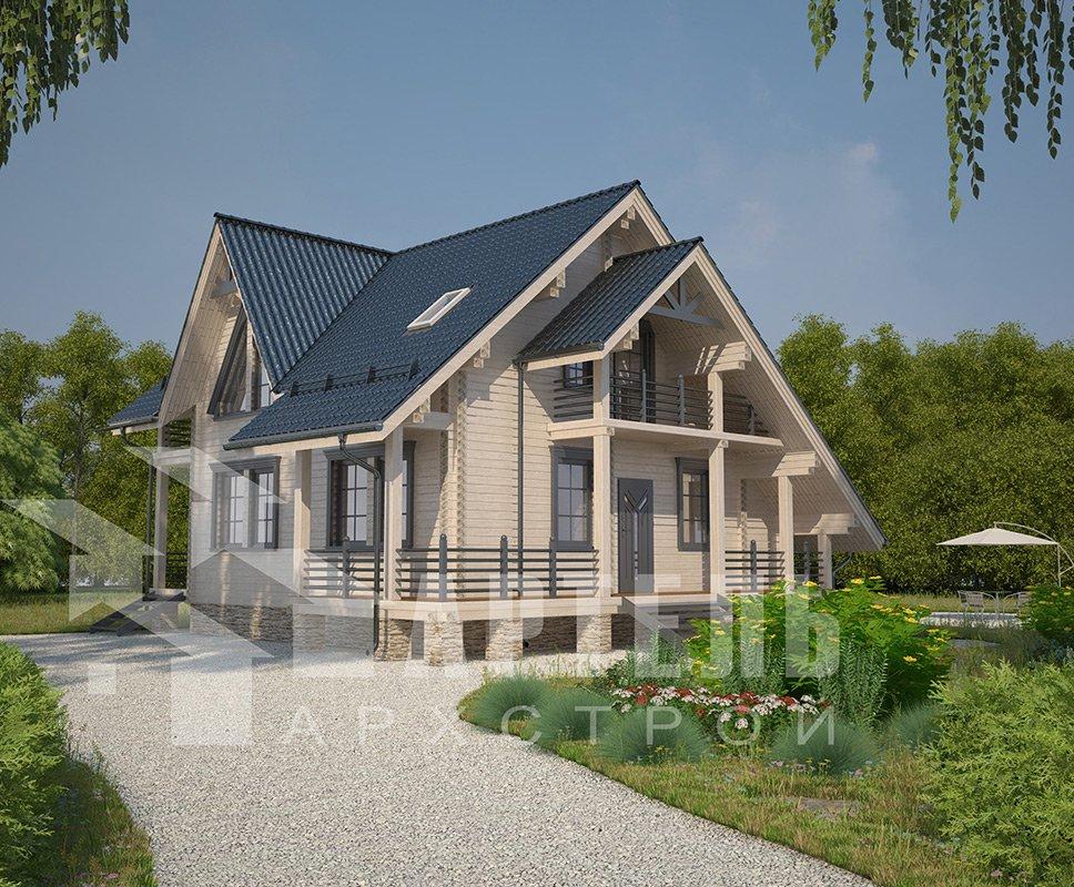 двухэтажный дом из профилированного бруса площадью от 150 до 200 кв. м. с  балконом, террасой, проект Вариант 7.7 А фотография 4175