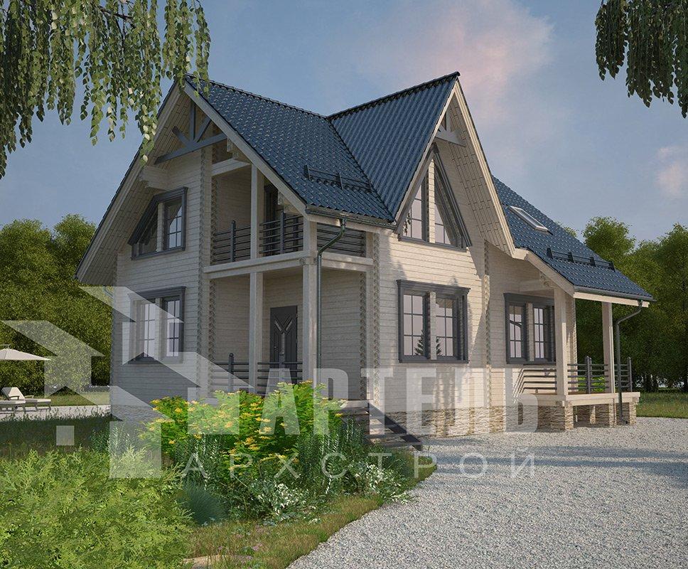 двухэтажный дом из профилированного бруса площадью от 150 до 200 кв. м. с  балконом, террасой, проект Вариант 7.7 А фотография 4178