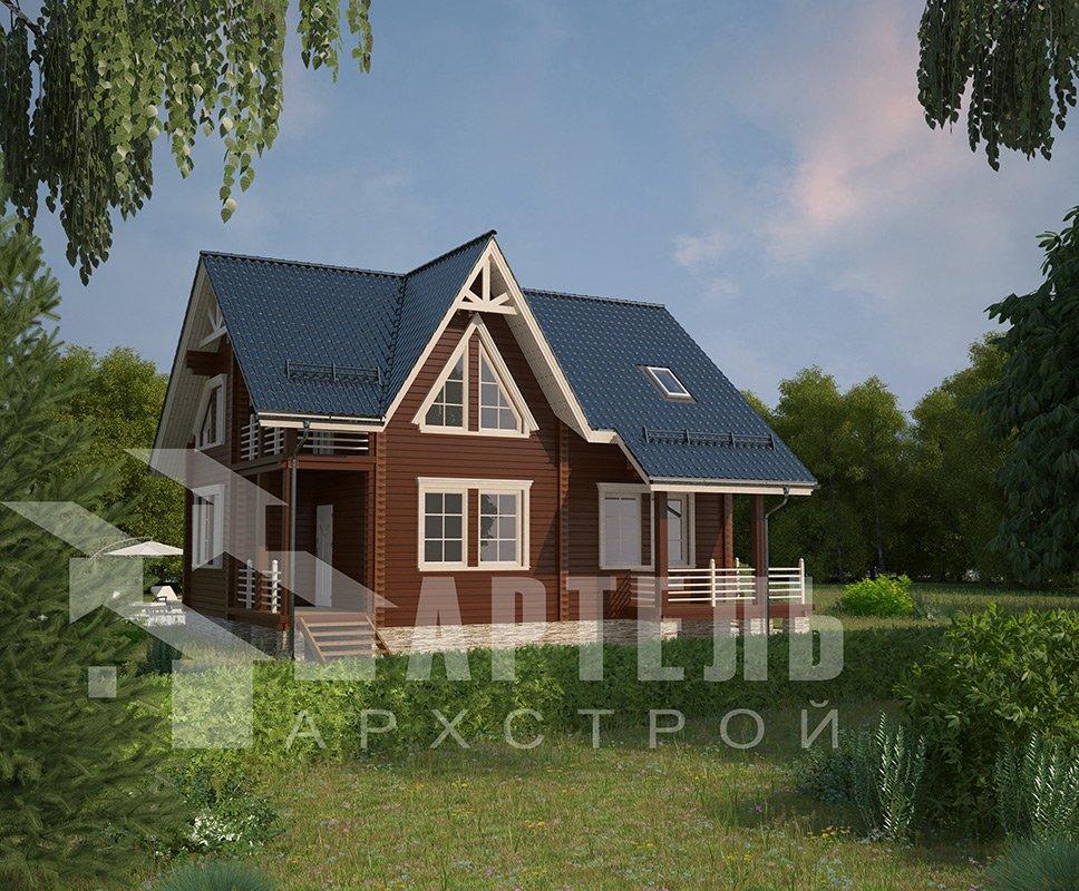 двухэтажный дом из профилированного бруса площадью от 150 до 200 кв. м. с  балконом, террасой, проект Вариант 7.7 А фотография 4179