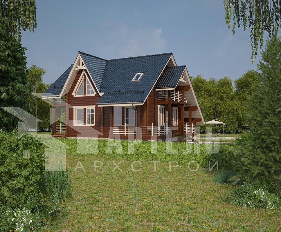 двухэтажный дом из профилированного бруса площадью от 150 до 200 кв. м. с  балконом, террасой, проект Вариант 7.7 А фотография 4180