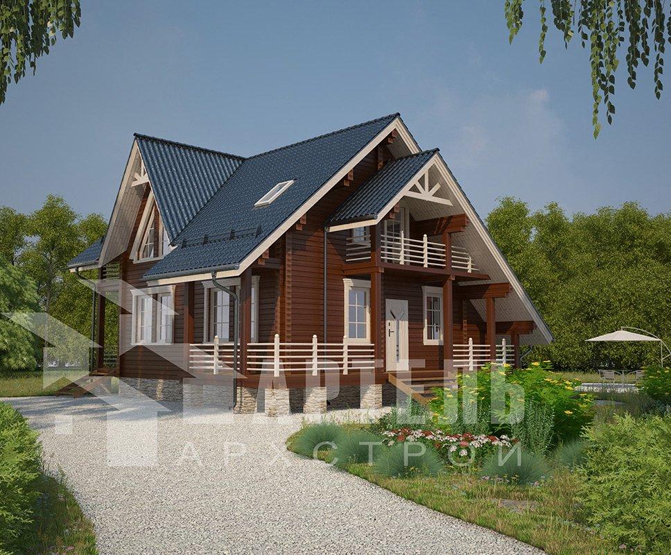 двухэтажный дом из профилированного бруса площадью от 150 до 200 кв. м. с  балконом, террасой, проект Вариант 7.7 А фотография 4181