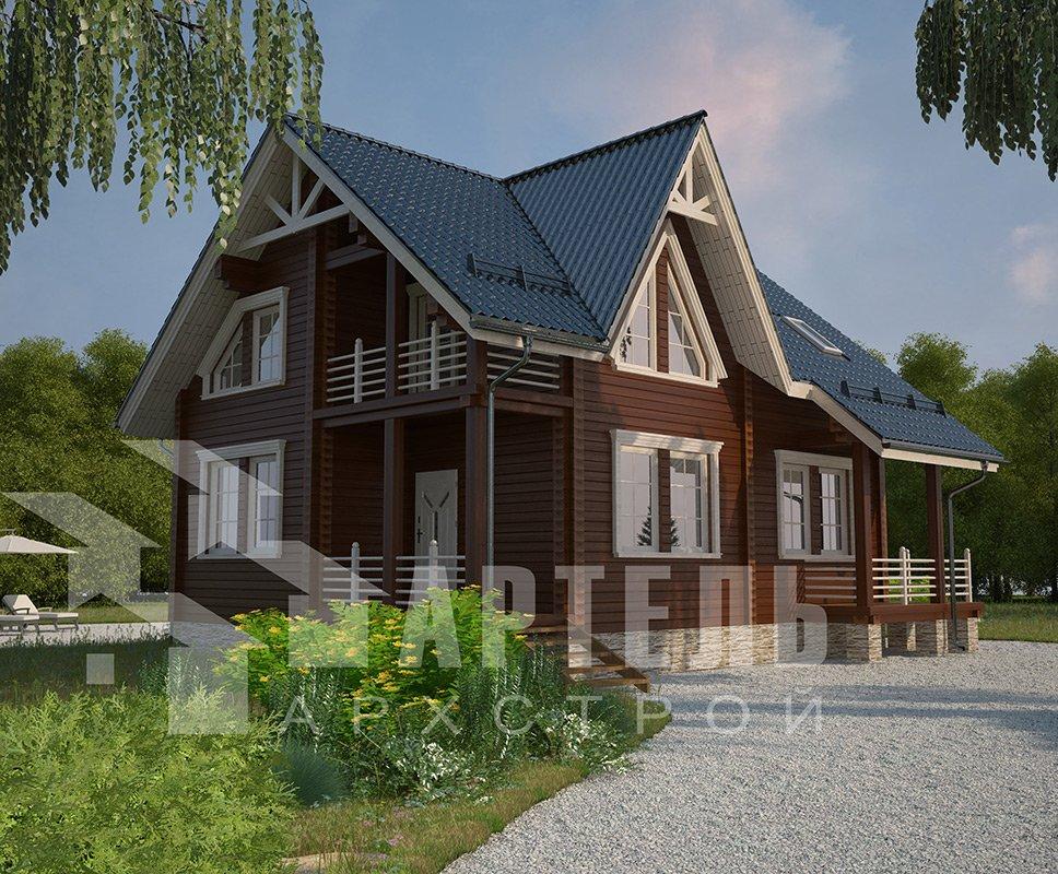 двухэтажный дом из профилированного бруса площадью от 150 до 200 кв. м. с  балконом, террасой, проект Вариант 7.7 А фотография 4184