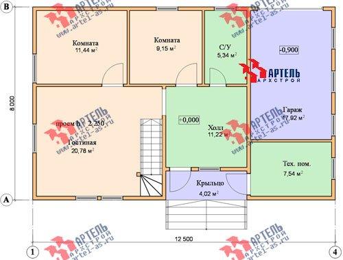 двухэтажный дом из бруса площадью от 150 до 200 кв. м. с  гаражом, мансардой, проект Вариант 8 О фотография 1203