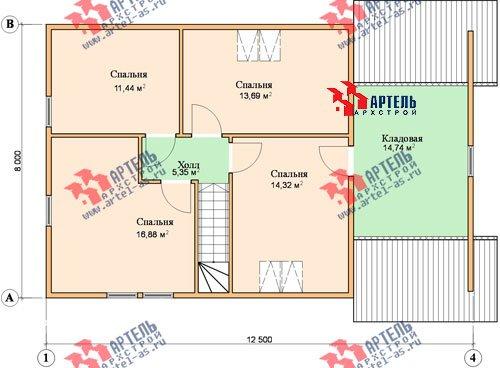 двухэтажный дом из бруса площадью от 150 до 200 кв. м. с  гаражом, мансардой, проект Вариант 8 О фотография 1204
