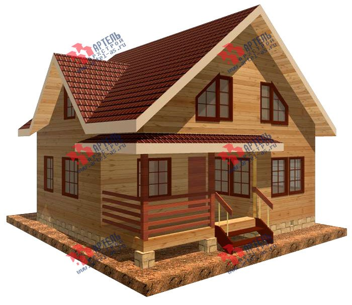 двухэтажный дом из профилированного бруса площадью от 100 до 150 кв. м. с  мансардой, террасой, проект Вариант 8.5 В фотография 977