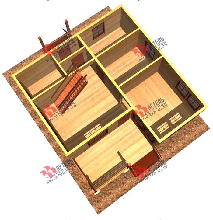 двухэтажный дом из профилированного бруса площадью от 100 до 150 кв. м. с  мансардой, террасой, проект Вариант 8.5 В фотография 979