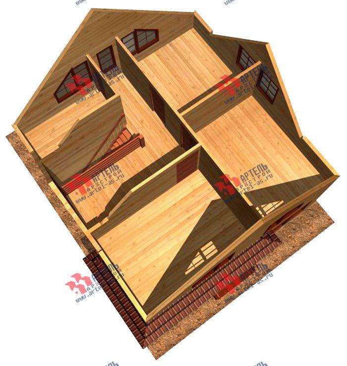 двухэтажный дом из профилированного бруса площадью от 100 до 150 кв. м. с  мансардой, террасой, проект Вариант 8.5 В фотография 980