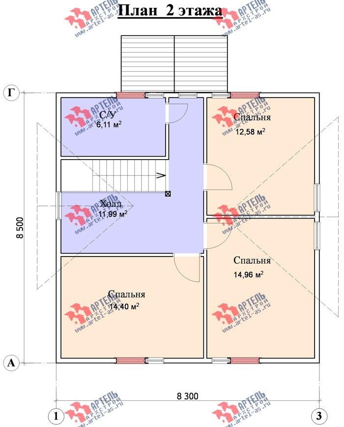 двухэтажный дом из профилированного бруса площадью от 100 до 150 кв. м. с  мансардой, террасой, проект Вариант 8.5 В фотография 989