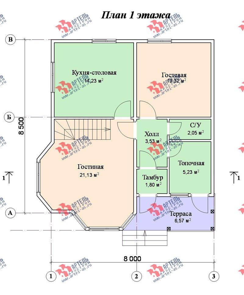 двухэтажный дом из бруса площадью от 100 до 150 кв. м. с  балконом, мансардой, террасой, эркером, проект Вариант 8.5 И фотография 1029
