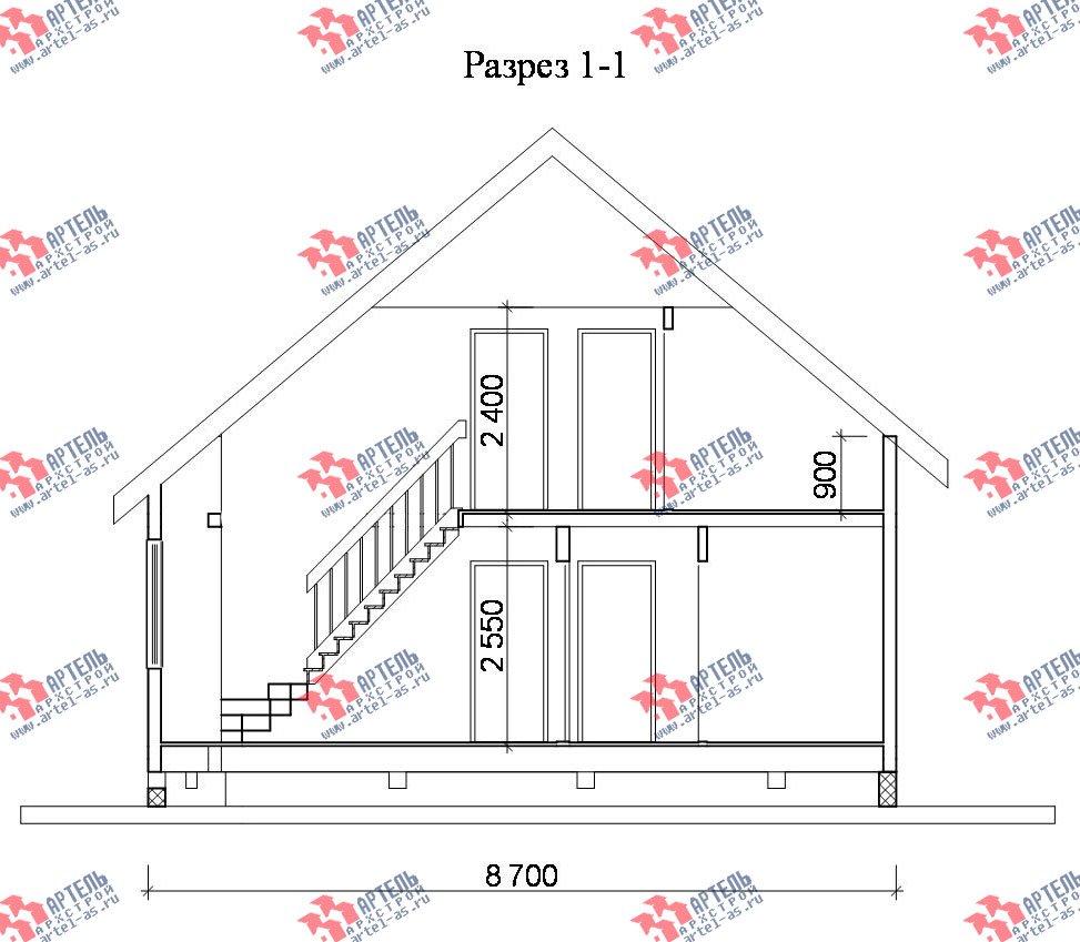 двухэтажный дом из бруса площадью от 100 до 150 кв. м. с  балконом, мансардой, террасой, эркером, проект Вариант 8.5 И фотография 1031