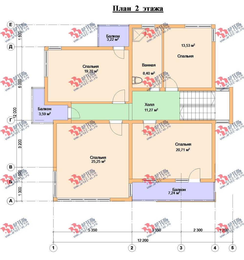 двухэтажный дом из профилированного бруса камерной сушки площадью свыше 200 кв. м. с  балконом, террасой, проект Вариант 3 фотография 2548