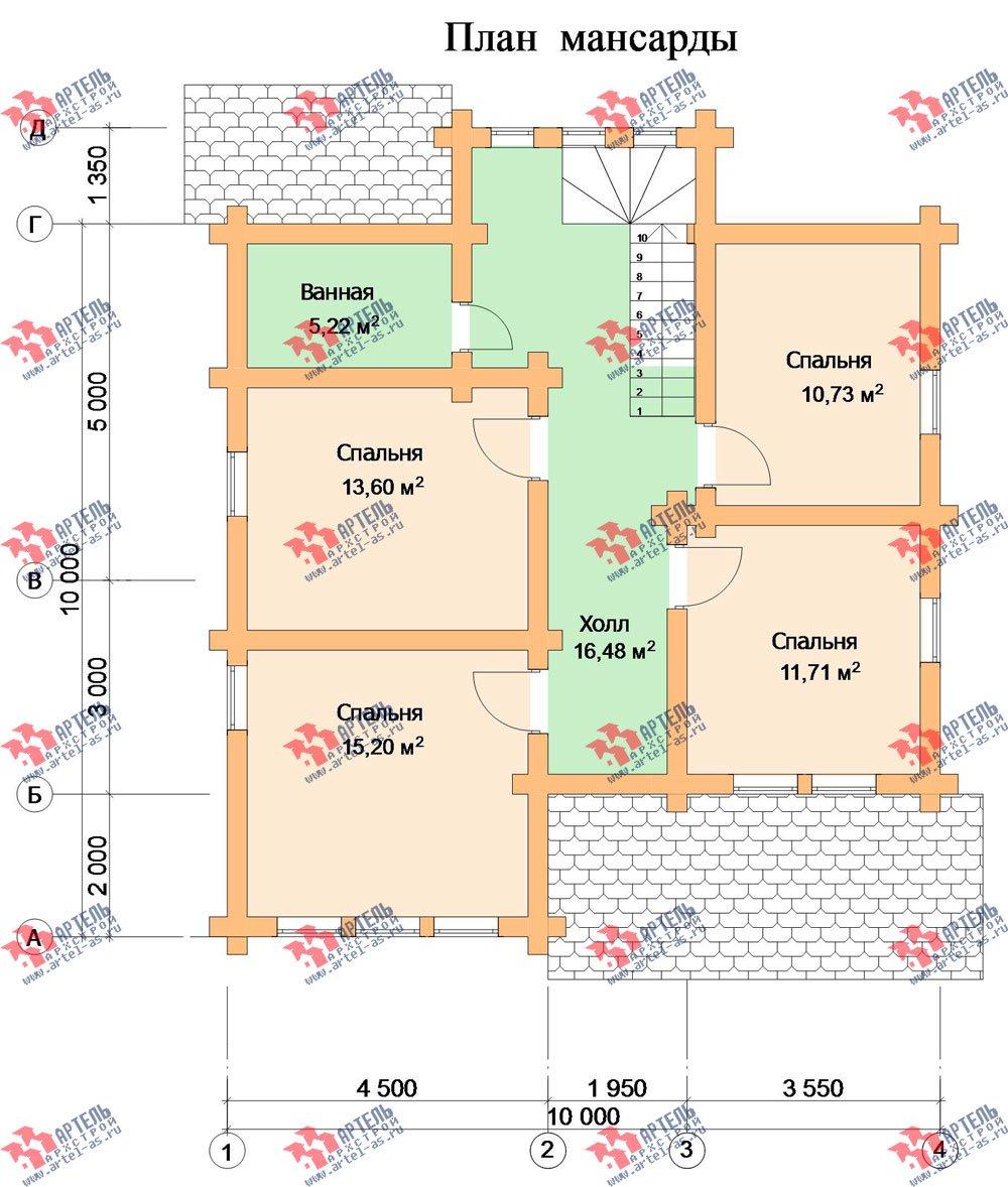 двухэтажный дом из оцилиндрованного бревна площадью от 150 до 200 кв. м. с  мансардой, проект Вариант 7 фотография 3109