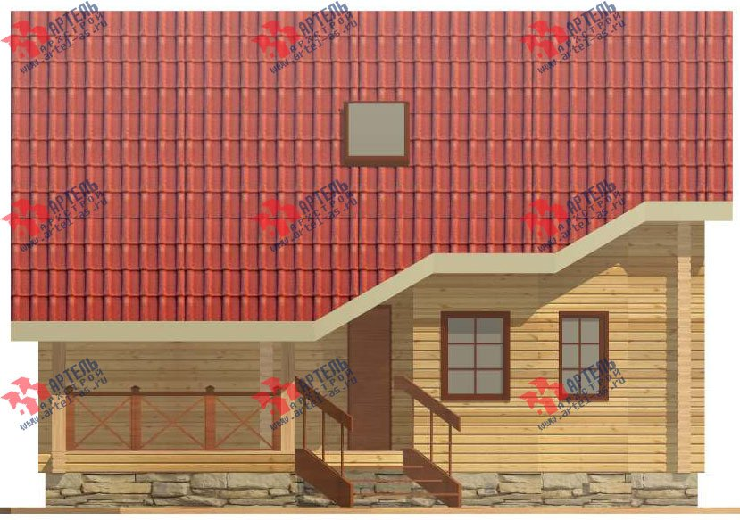 двухэтажный дом из профилированного бруса площадью от 150 до 200 кв. м. с  мансардой, террасой, проект Вариант 8.3 А фотография 3229