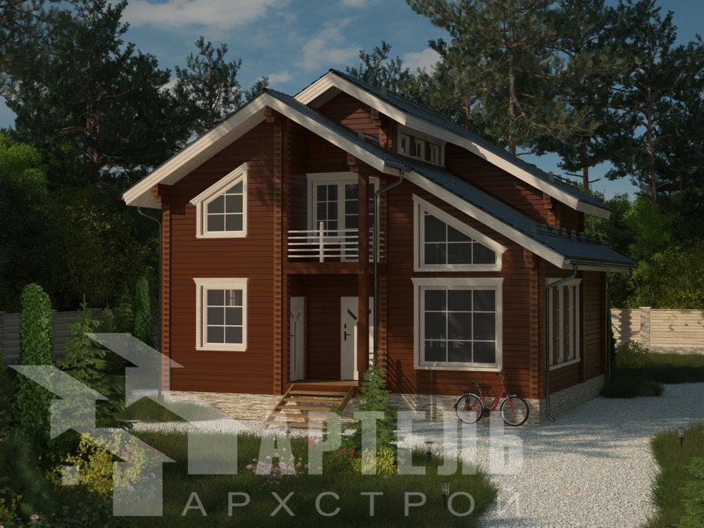 двухэтажный дом из профилированного бруса площадью от 100 до 150 кв. м. с  балконом, мансардой, проект Вариант 9.3 К фотография 6408