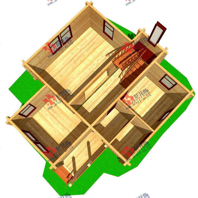 двухэтажный дом из профилированного бруса площадью от 100 до 150 кв. м. с  мансардой, эркером, проект Вариант 9 А фотография 235