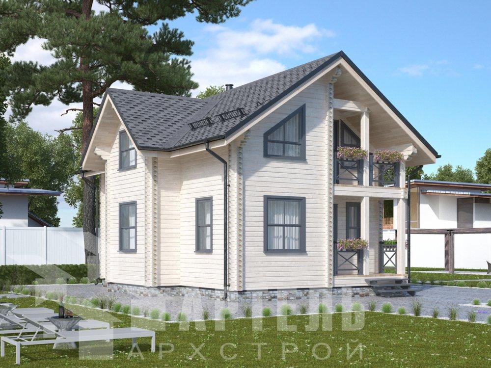 двухэтажный дом омбинированные дома площадью от 100 до 150 кв. м., проект Вариант 9,9К Камень и Комбинированный фотография 6500